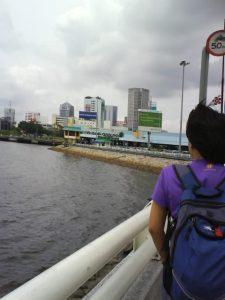 Johor-Singapore Causeway Link - me walking along the bridge